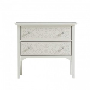 Maaya Bone Inlay Bedside Cabinet Table White Floral