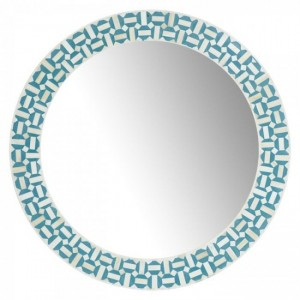 Maaya Bone Inlay Mirror Frame - Round Blue 75x5x75cm