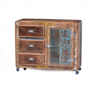 Cromer Retro style Recycled Wood 1 Door 3 Drawer Chest Of Drawer On Wheels Natural 100 cm