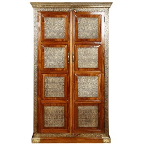 Embossed Antique Brass work Wardrobe With Brass Panel