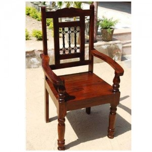 Boston Indian Solid Wood Dining Room Chair w Arms Set of 2 Honey Brown