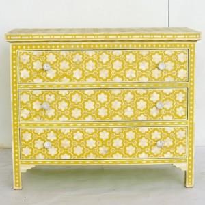 Maaya Bone Inlay Chest of Drawer sideboard Yellow Floral