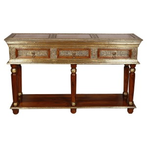 Embossed Antique Brass work Console Table Brass Work 3 Drawer
