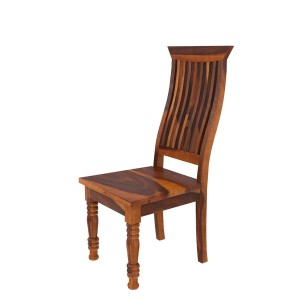 Handcrafted Indian Solid Wood Wave Back Ergonomic Chair Natural