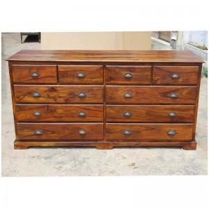 Cromer Indian Solid Wood 10 Drawer Large Bedroom Dresser