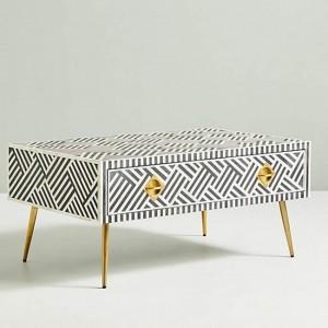 Maaya Bone Inlay Rectangular Coffee Table Black Geometric