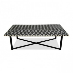 Maaya Bone Inlay Rectangular Coffee Table Black Geometric