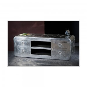 Aviator Aluminium Aviation rivet detail unusual Aviator TV Cabinet Large