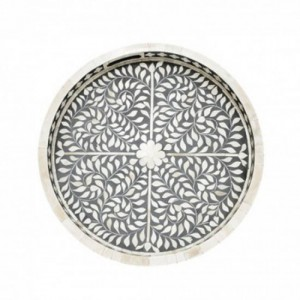 Maaya Bone Inlay Serving Tray - Floral Design  49x39x5cm