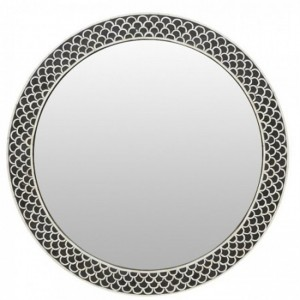 Maaya Round Bone Inlay Mirror Frame - Fish Scale 75x5x75cm