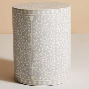 Maaya Bone Inlay Round drum Side Table Gery Floral