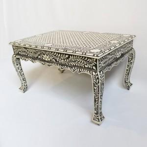 Maaya Bone Inlay Coffee Table Black White Geometric