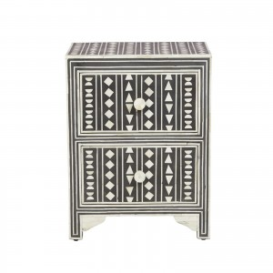 Maaya Bone inlay Geometric 2 drawer bedside lamp table