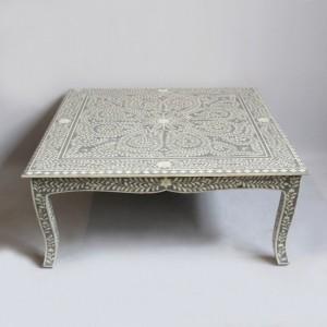 Maaya Bone Inlay Coffee Table Grey White Geometric