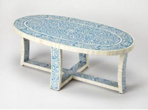 Maaya Bone Inlay Coffee Table Blue White Floral Pattren