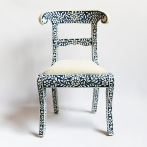 Maaya Bone Inlay Seating Chair White Blue Floral Pattren