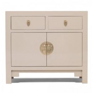 Golden Dragon Oriental Painted Solid Wood Grey Small Sideboard 90x40x80cm