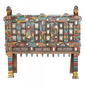 Damchiya Mid 20th Century Manjus Dowry Cabinet Multicolored B