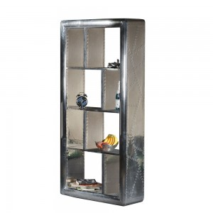 Aviator Aluminium Aviation rivet detail unusual bookcase 90cm