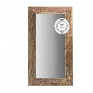 Indian Hand Carved Mirror frame Natural 60x90 cm