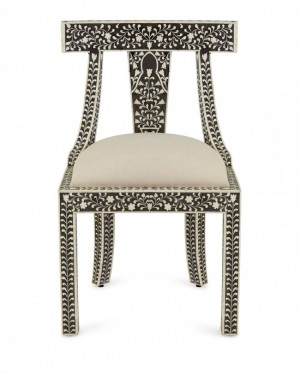 Maaya Bone Inlay Seating Chair White Black Floral Pattren