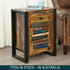 Aspen Reclaimed Wood Industrial 1 drawer Side Table Bedside