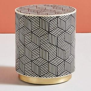 Maaya Brass Bone Inlay Round drum Side Table Geometric