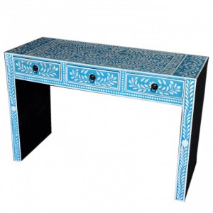Pandora Bone Inlay Blue Floral Hall Table