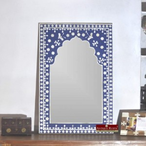Maaya Bone Inlay Mirror Frame White Blue Floral Pattren