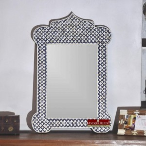 Maaya Bone Inlay Mirror Frame Grey Geometric Pattren