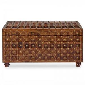 Mogra Antique Brass Work Brass Treasure Box B, sheesham brass blanket box, coffee table chest, chest