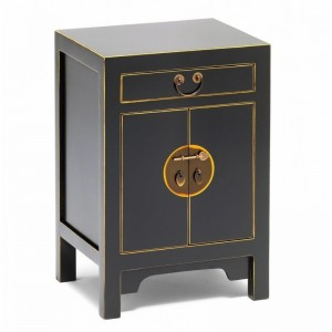 Golden Dragon Oriental Painted Solid Wood Black Bedside Cabinet 40x35x60cm
