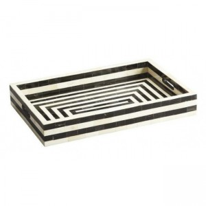 Maaya Herringbone Inlay Serving Tray - Black  49x39x5cm
