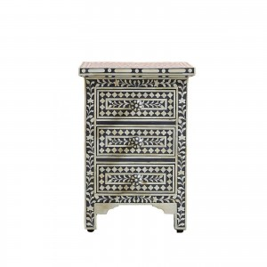 Maaya Bone inlay Geometric 3 drawer bedside lamp table
