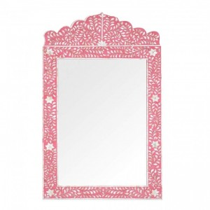 Maaya Bone Inlay Mirror Frame White Pink Floral Pattren