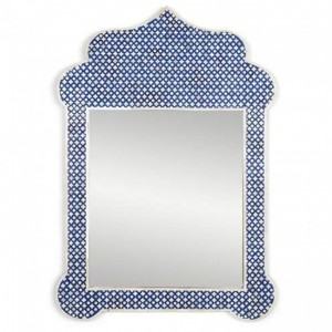 Maaya Bone Inlay Mirror Frame Blue Geometric Pattren