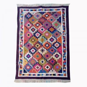 Kilim Wool Handwoven Cotton Dhurrie Durry Rug Jute Floor Covering Pattern 32