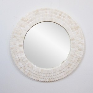 Maaya Bone Inlay Round Mirror Frame White 60cm