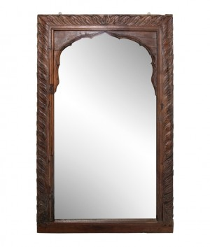 Hand Carved Indian Arched Window Frame Mirror Brown