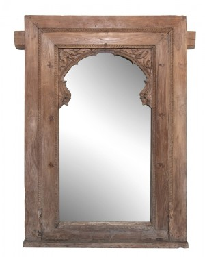 Hand Carved Indian Mehrab Arched Window Frame Mirror Natural