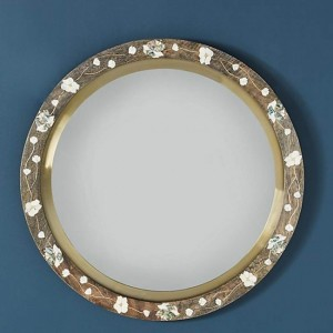Maaya Bone Inlay Mirror Frame White Brown Floral Pattren