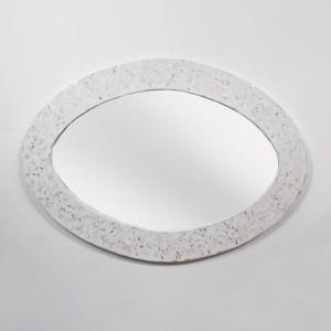 Maaya Bone Inlay Mirror Frame White Floral Pattren 60cm