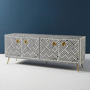 Maaya Bone Inlay Tv Unit Black White Geometric 160cm