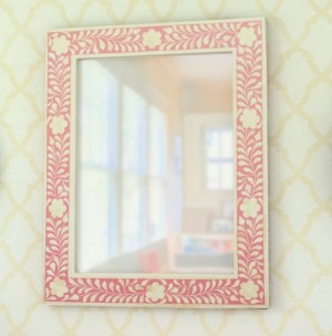 Maaya Bone Inlay Mirror Frame Pink White Floral Pattren