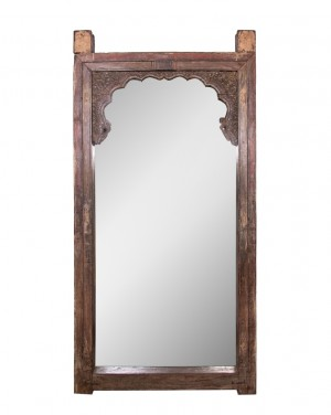 Hand Carved Indian Arch Mehrab Window Frame Mirror Chocolate  Brown