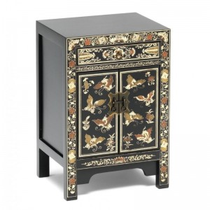 Golden Dragon Oriental Painted Solid Wood Gold Bedside Cabinet 40x35x60cm