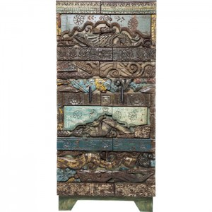 Antique Tribal Carved Panel Solid Wood Cupboard 2 door Cabinet Wardrobe 1.8m