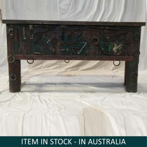 Indian Antique Solid Wood Console Hall Table Black