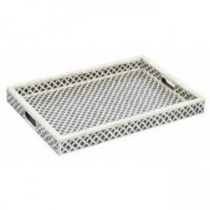 Maaya Bone Inlay Serving Tray - Fish Scale  49x39x5cm