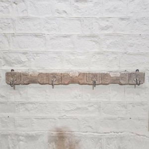 Hand Carved Indian Solid Wood Wall Decor Hanger Whitewash 153cm